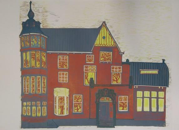 Hoekhuis Heemraadssingel linoleumsnede in 6 kleuren