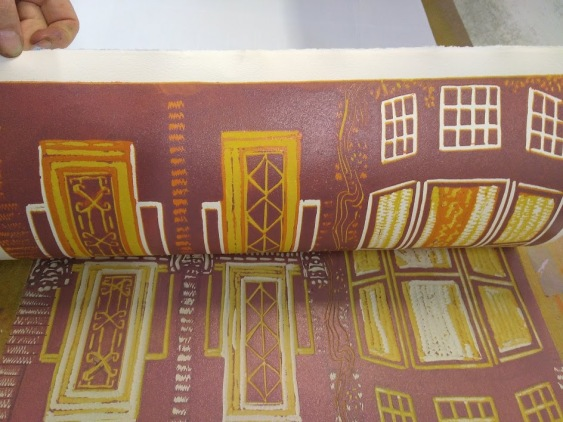 3e drukgang kleuren linoleumsnede reductie techniek