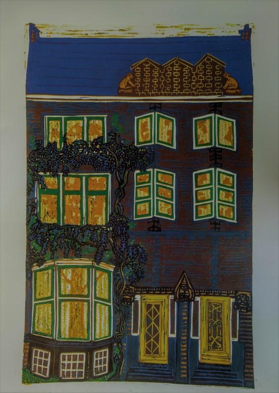 kleuren linoleumsnede Heemraadssingel huis