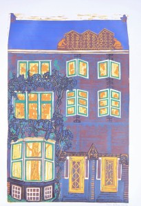 blauwe regen, huis aan de Heemraadssingel, linoleumsnede Ondine de Kroon