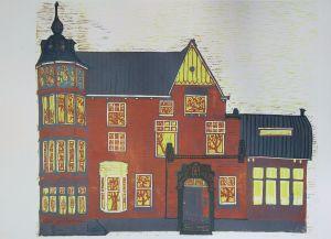 Heemraadssingel, huis, linoleumsnede, kleur Ondine de Kroon